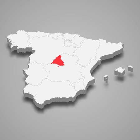 Community Madrid region location within Spain 3d isometric map