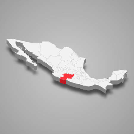 Michoacan region location within Mexico 3d isometric map Vector Illustration