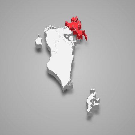 Muharraq region location within Bahrain 3d isometric map Vector Illustration