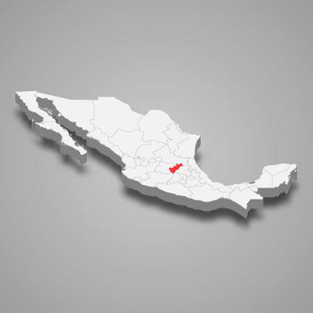 Queretaro region location within Mexico 3d isometric map