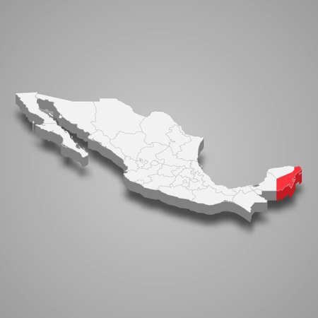 Quintana Roo region location within Mexico 3d isometric map