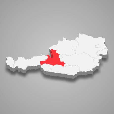 Salzburg region location within Austria 3d isometric map