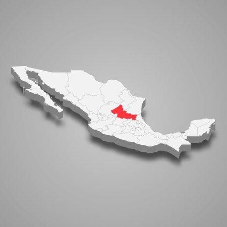 San Luis Potosi region location within Mexico 3d isometric map
