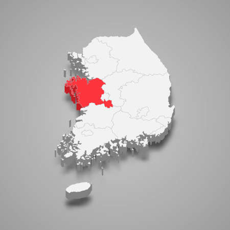 South Chungcheong region location within South Korea 3d isometric map