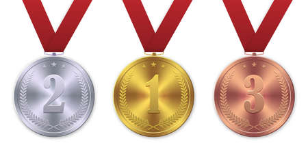 Vector 3d Realistic Gold, silver and bronze medal, First place winner award
