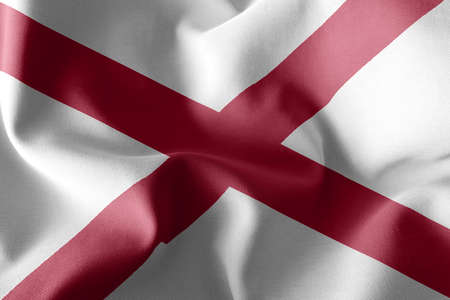 3D illustration flag of Alabama is a region of United States. Waving on the wind flag textile background