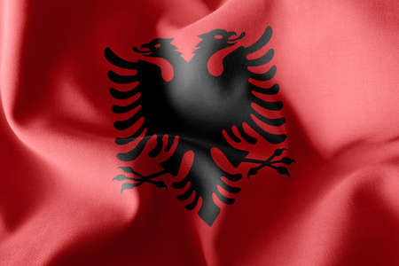 3D illustration flag of Albania. Waving on the wind flag textile background