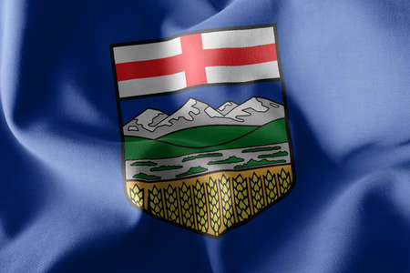 3D illustration flag of Alberta is a region of Canada. Waving on the wind flag textile background