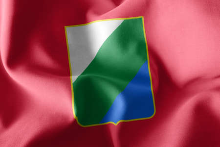 3D illustration flag of Abruzzo is a region of Italy. Waving on the wind flag textile background Imagens