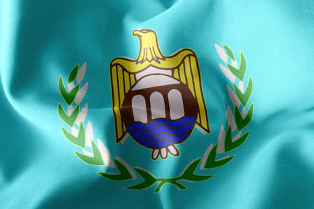 3D illustration flag of Asyut is a region of Egypt. Waving on the wind flag textile background Imagens