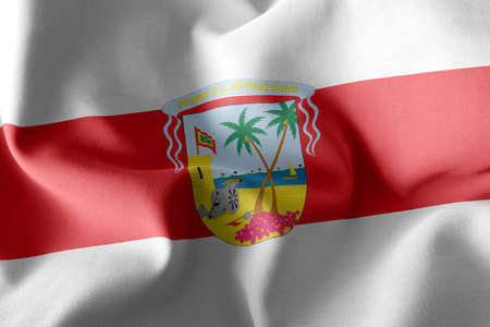 3D illustration flag of Atlantico is a region of Colombia. Waving on the wind flag textile background Imagens