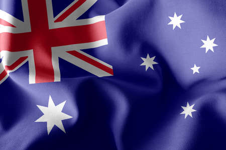 3D illustration flag of Australia. Waving on the wind flag textile background Imagens