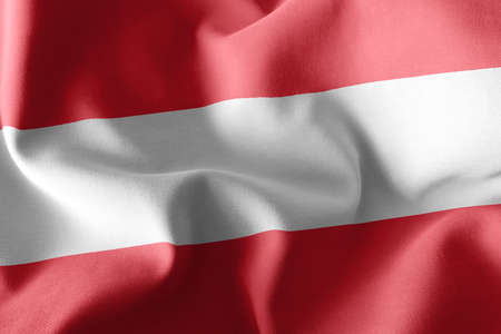 3D illustration flag of Austria. Waving on the wind flag textile background Imagens