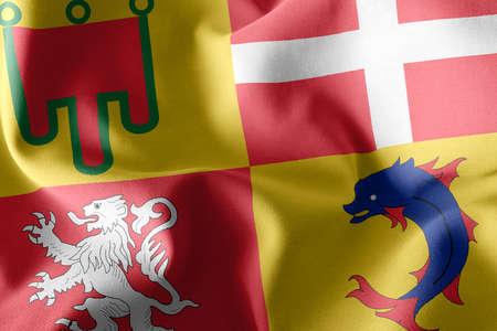 3D illustration flag of Auvergne-Rhone-Alpes is a region of France. Waving on the wind flag textile background