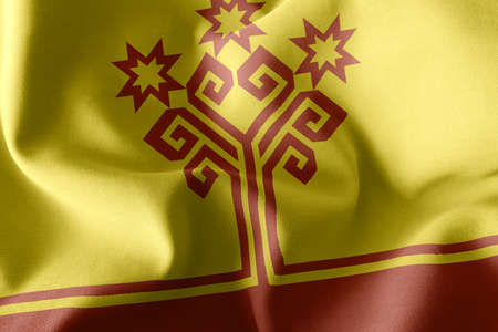 3D illustration flag of Chuvashia is a region of Russia. Waving on the wind flag textile background