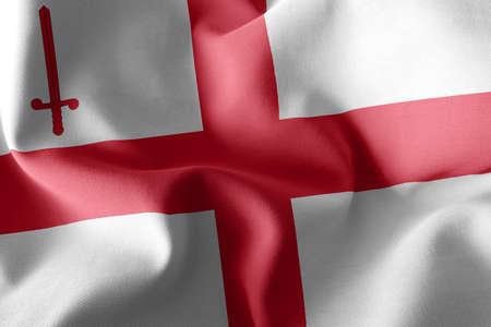 3D illustration flag of City of London is a county of England. Waving on the wind flag textile background Imagens
