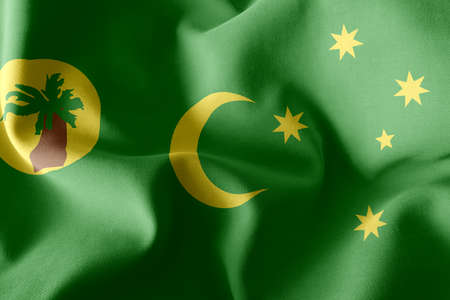 3D illustration flag of Cocos Islands is a region of Australia. Waving on the wind flag textile background