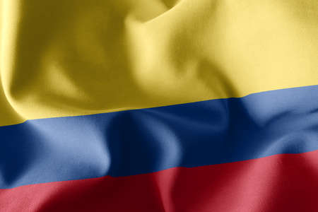 3D illustration closeup flag of Colombia. Waving on the wind flag textile background