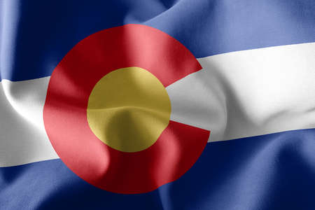 3D illustration flag of Colorado is a region of United States. Waving on the wind flag textile background