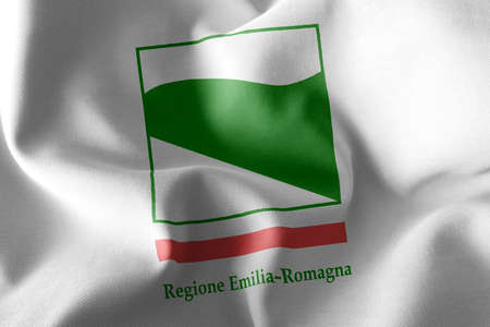 3D illustration flag of Emilia-Romagna is a region of Italy. Waving on the wind flag textile background Imagens