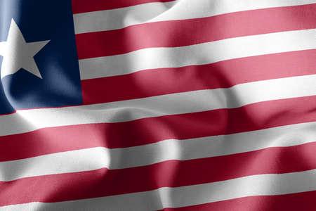 3D illustration flag of Liberia. Waving on the wind flag textile background Reklamní fotografie