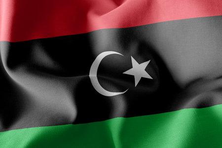 3D illustration flag of Libya. Waving on the wind flag textile background