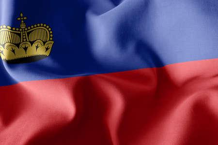 3D illustration flag of Liechtenstein. Waving on the wind flag textile background