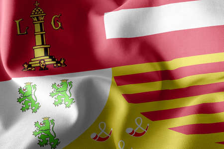 3D illustration flag of Liege is a province of Belgium. Waving on the wind flag textile background
