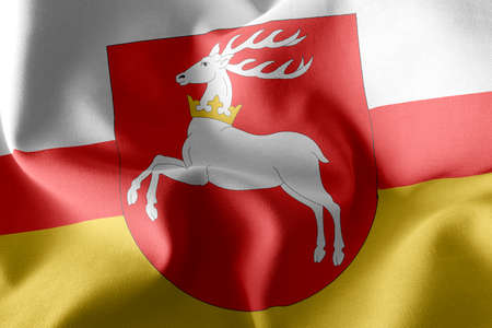 3D illustration flag of Lublin Voivodship is a region of Poland. Waving on the wind flag textile background Imagens