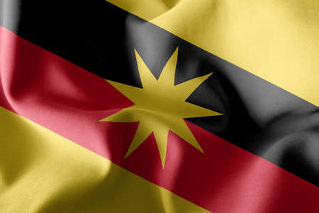 3D illustration flag of Sarawak is a state of Malaysia. Waving on the wind flag textile background