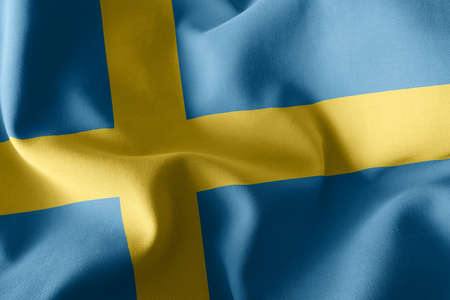 3D illustration flag of Sweden. Waving on the wind flag textile background