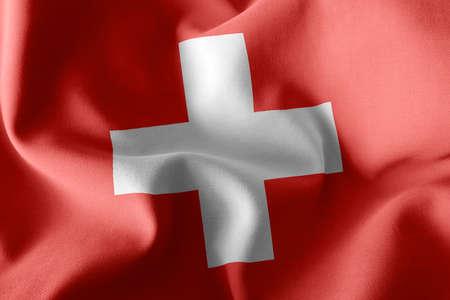 3D illustration flag of Switzerland. Waving on the wind flag textile background 版權商用圖片