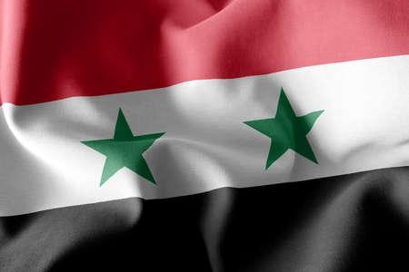 3D illustration flag of Syria. Waving on the wind flag textile background