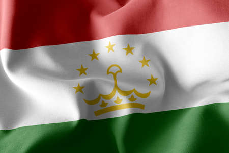 3D illustration flag of Tajikistan. Waving on the wind flag textile background