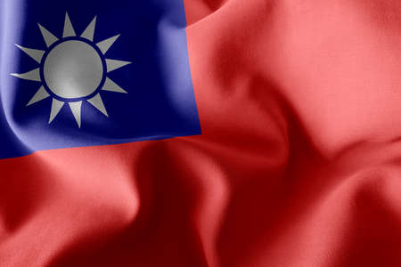 3D illustration flag of Taiwan. Waving on the wind flag textile background 版權商用圖片