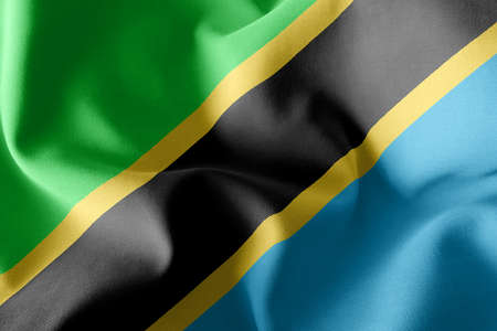 3D illustration flag of Tanzania. Waving on the wind flag textile background