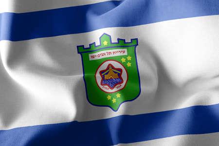 3D illustration flag of Tel Aviv is a region of Israel. Waving on the wind flag textile background