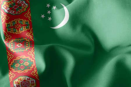 3D illustration flag of Turkmenistan. Waving on the wind flag textile background 版權商用圖片