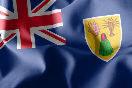 3D illustration flag of Turks and Caicos Islands is a region of United Kingdom. Waving on the wind flag textile background