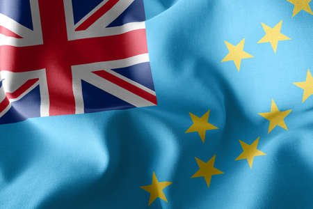 3D illustration flag of Tuvalu. Waving on the wind flag textile background 版權商用圖片