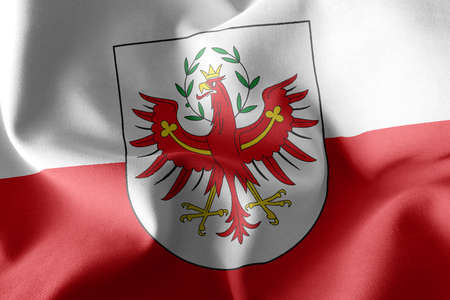 3D illustration flag of Tyrol is a region of Austria. Waving on the wind flag textile background