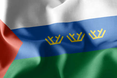 3D illustration flag of Tyumen Oblast is a region of Russia. Waving on the wind flag textile background