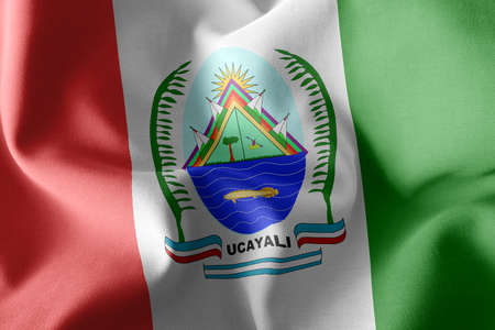 3D illustration flag of is a region of Peru. Waving on the wind flag textile background