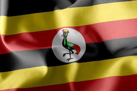 3D illustration flag of Uganda. Waving on the wind flag textile background