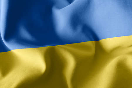 3D illustration flag of Ukraine. Waving on the wind flag textile background 版權商用圖片