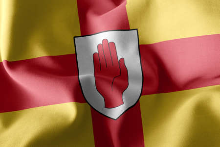 3D illustration flag of Ulster is a region of Ireland. Waving on the wind flag textile background 版權商用圖片