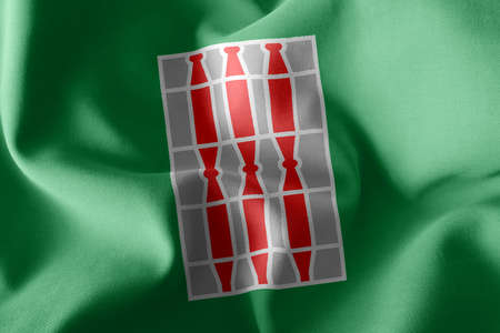 3D illustration flag of Umbria is a region of Italy. Waving on the wind flag textile background