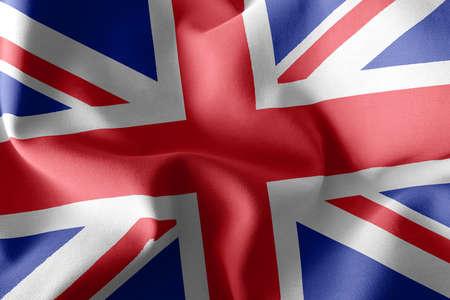 3D illustration flag of United Kingdom. Waving on the wind flag textile background 版權商用圖片