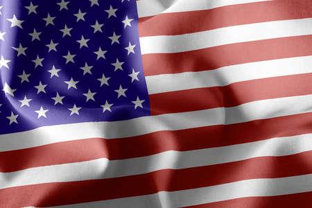3D illustration flag of United States. Waving on the wind flag textile background