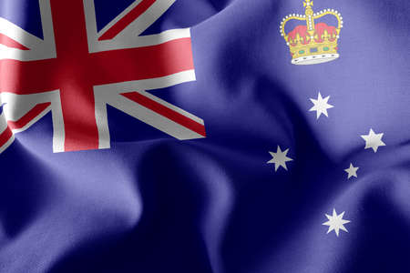 3D illustration flag of Victoria is a region of Australia. Waving on the wind flag textile background
